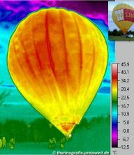Thermal image of a hot air balloon