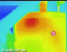Thermographic picture - Infrarouge photograph: 1000-Litres - electric boiler with thermal leakage by poor insulation