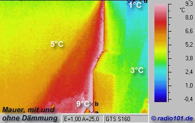 Thermal imaging of a wall with and without insulation