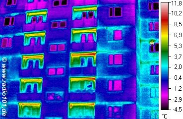 visible heat radiation: thermographic image of flats in Duesseldorf