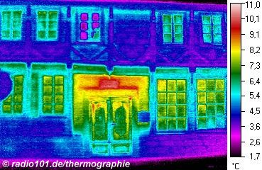 half-timbered houses in Minden, Germany - thermographic image