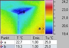 humid area in a corner - thermographic / thermal picture