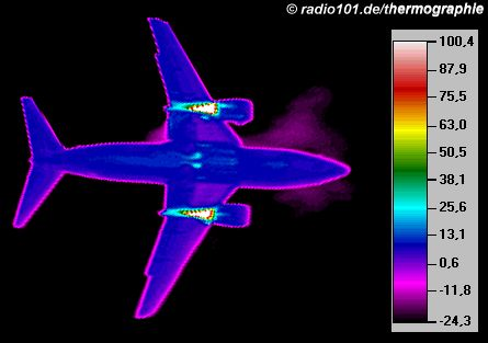 Thermal image of a landing airplane at Frankfurt Airport