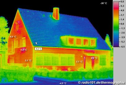 Thermal imaging of buildings: infrared / thermal image of a house