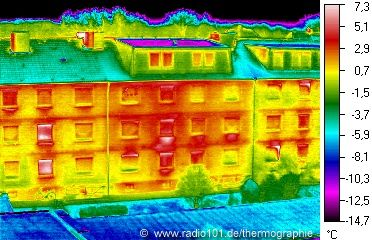 Houses (Flats), thermal image / heat radiation in colour