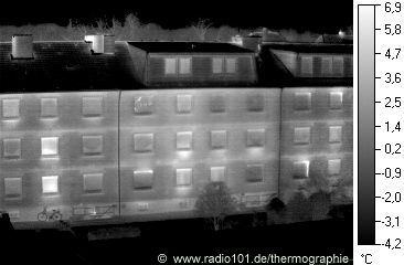 Houses (Flats), thermal image / heat radiation in black-and-white