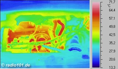 la Moteur d´un VW Golf (thermographic foto / thermal picture)